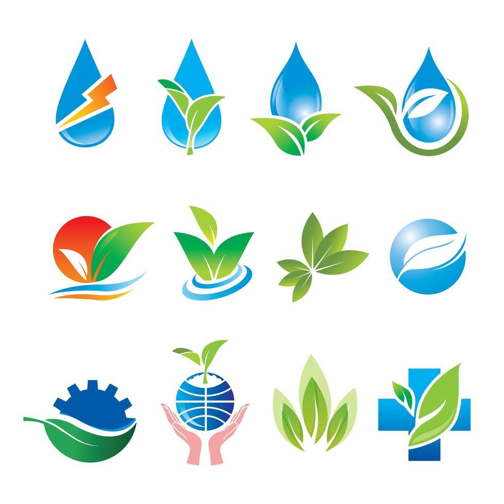 natürliches Wasser- und Blattlogoset vektor