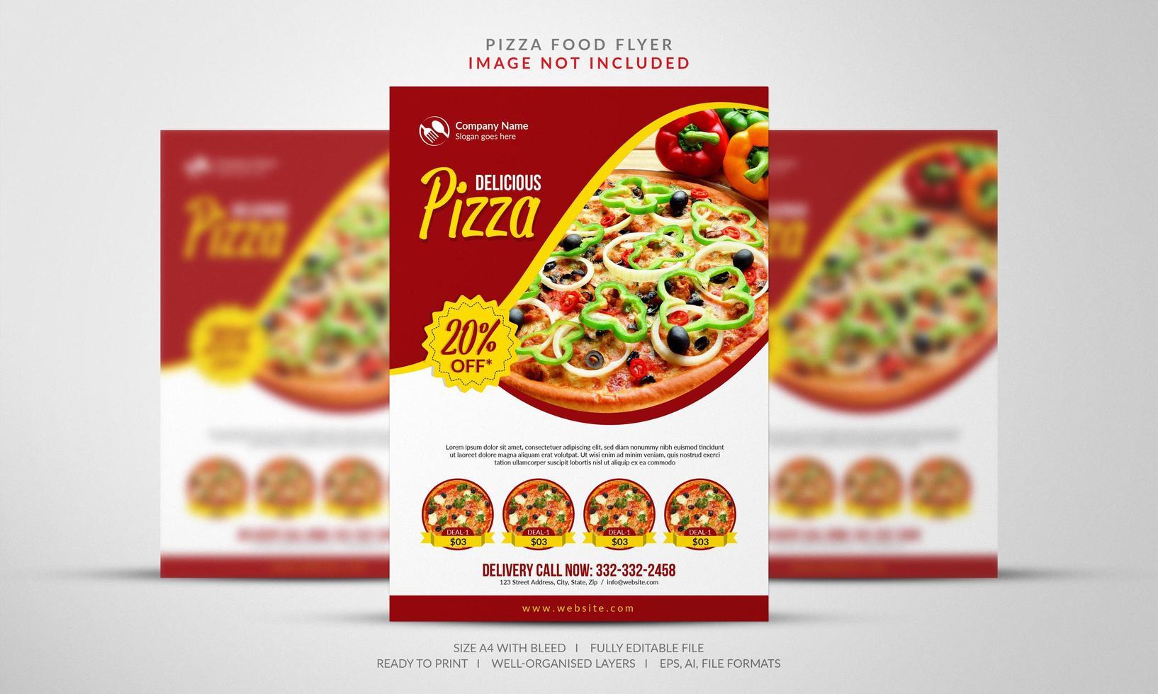 Pizza Angebote Flyer in rot und gelb vektor