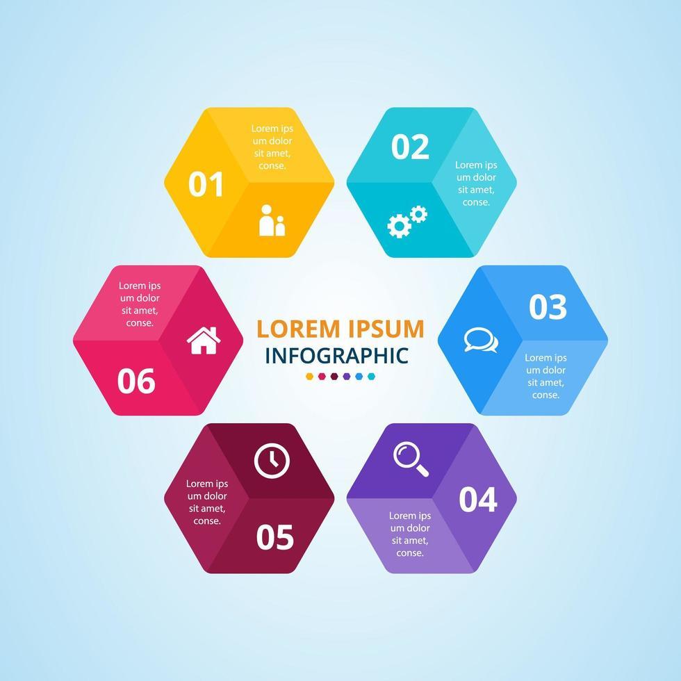 modernes sechseckiges buntes Infografikdesign vektor