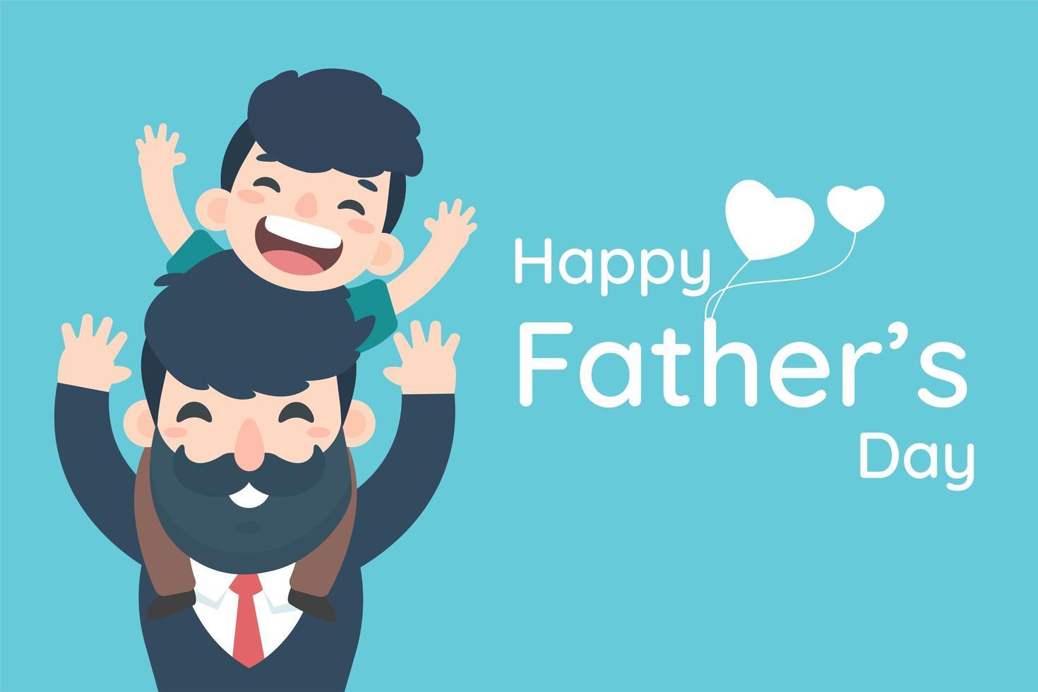 glücklicher Vatertag mit Jungen auf Papas Schultern vektor