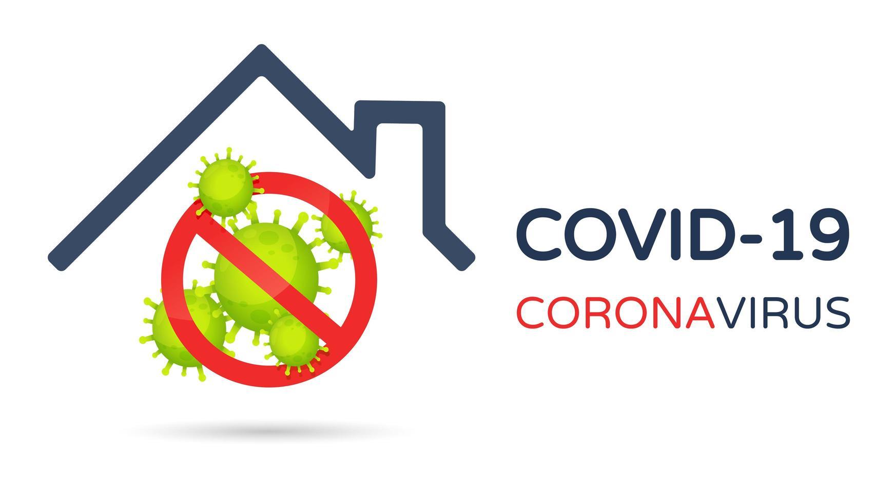 covid-19 Verbotssymbol unter Hausdach vektor