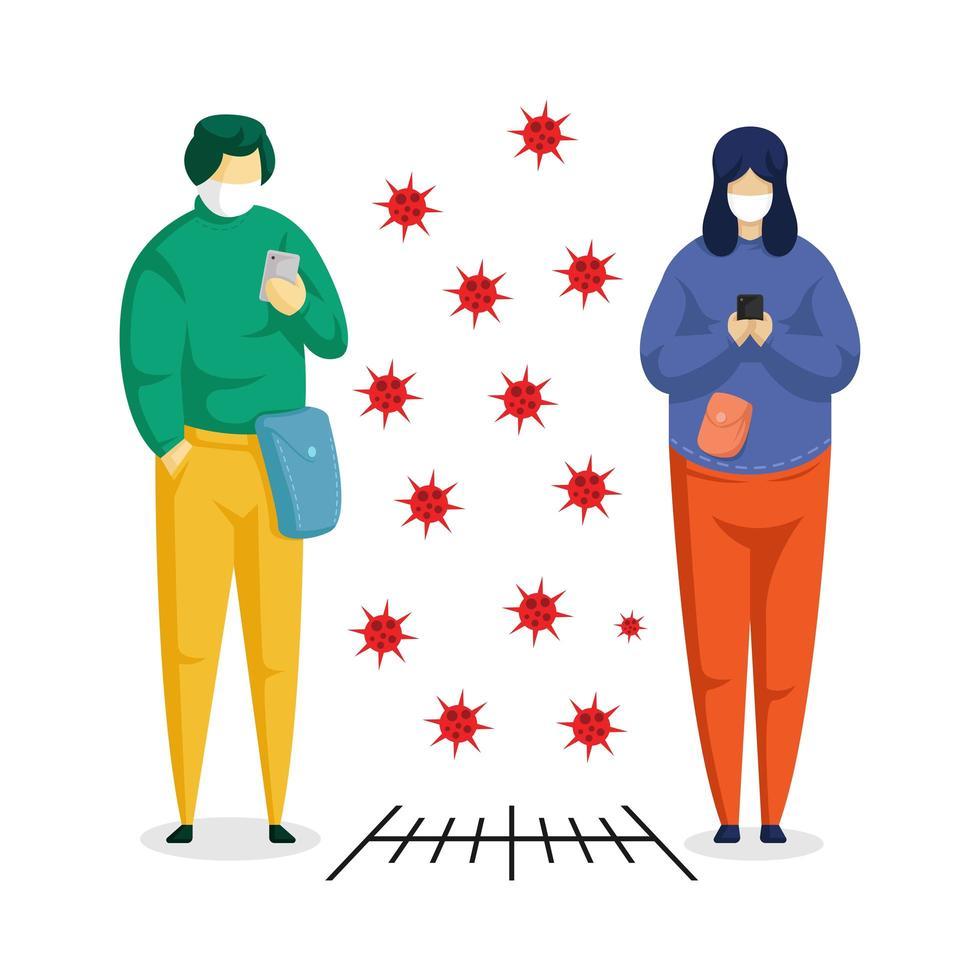 zwei Leute auf Gadgets soziale Distanzierung vektor