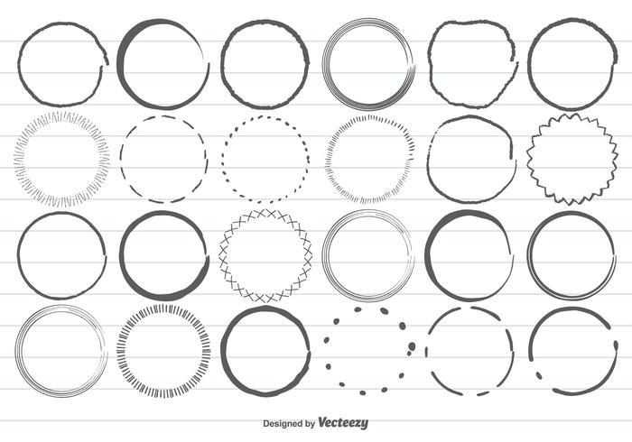 Handdragen cirkelsformsuppsättning vektor