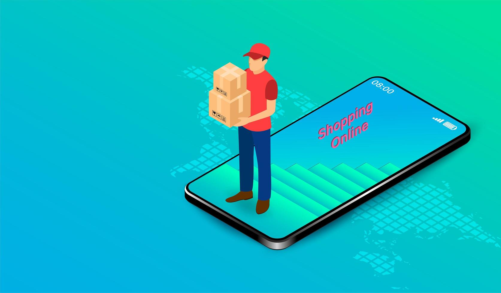 Lieferbote mit Kisten aus dem Handy gehen vektor