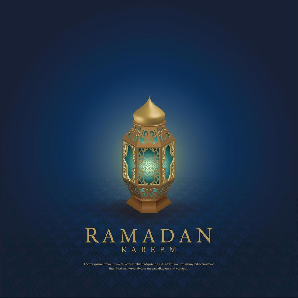 Bamadan Kareem Grußkarte mit schöner islamischer Laterne vektor