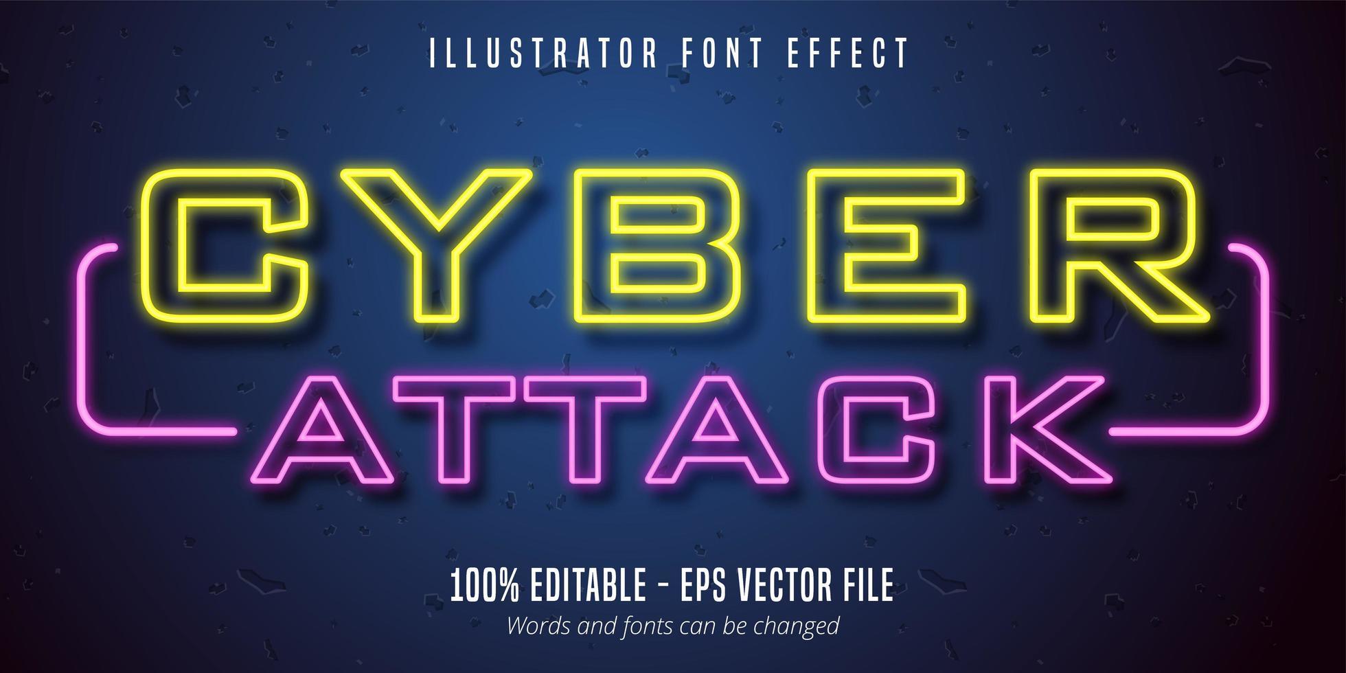 cyberattack text, neonljus skyltstil redigerbar typsnitt effekt vektor