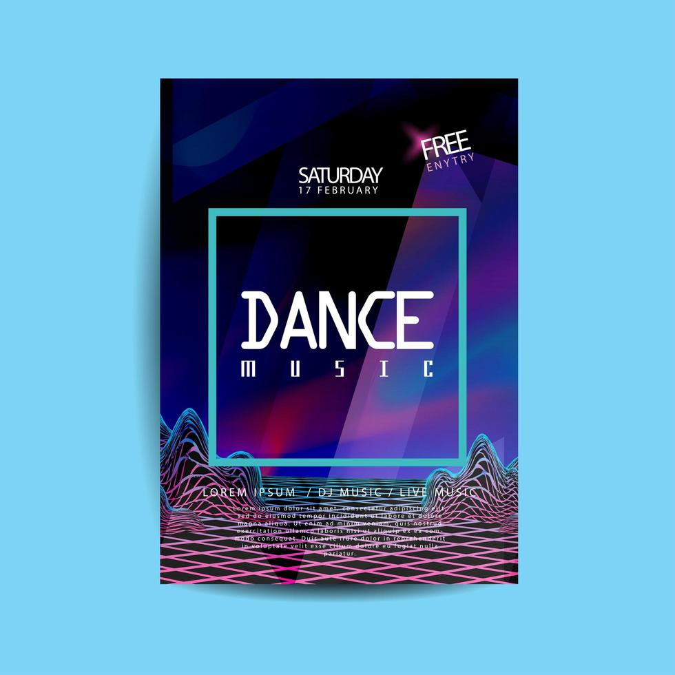 ljudvågor dansmusik flygblad vektor