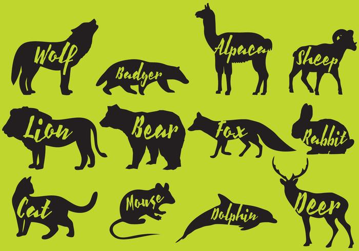 Säugetiere Silhouetten mit Namen vektor