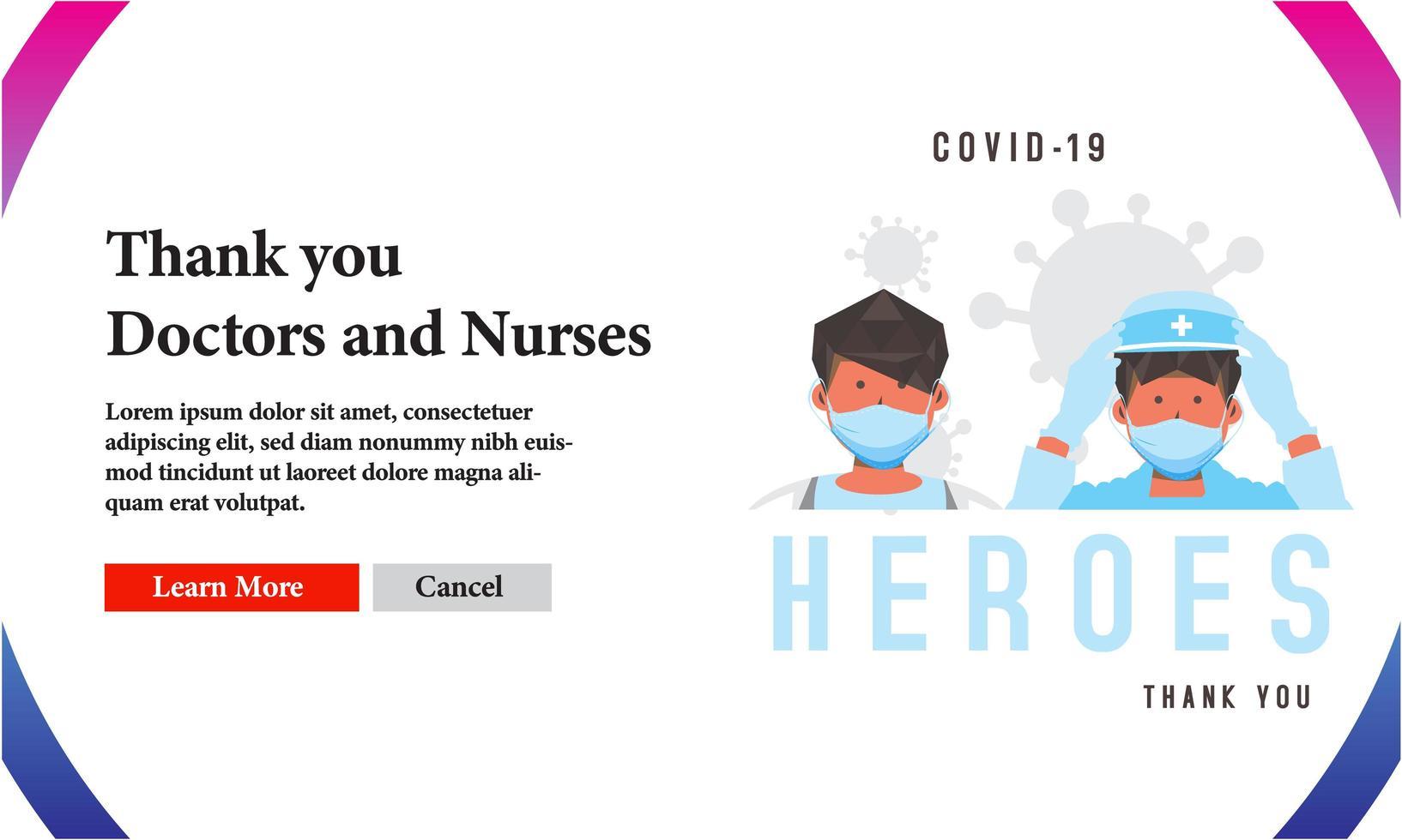 danke medizinische Helden covid-19 Banner Design vektor