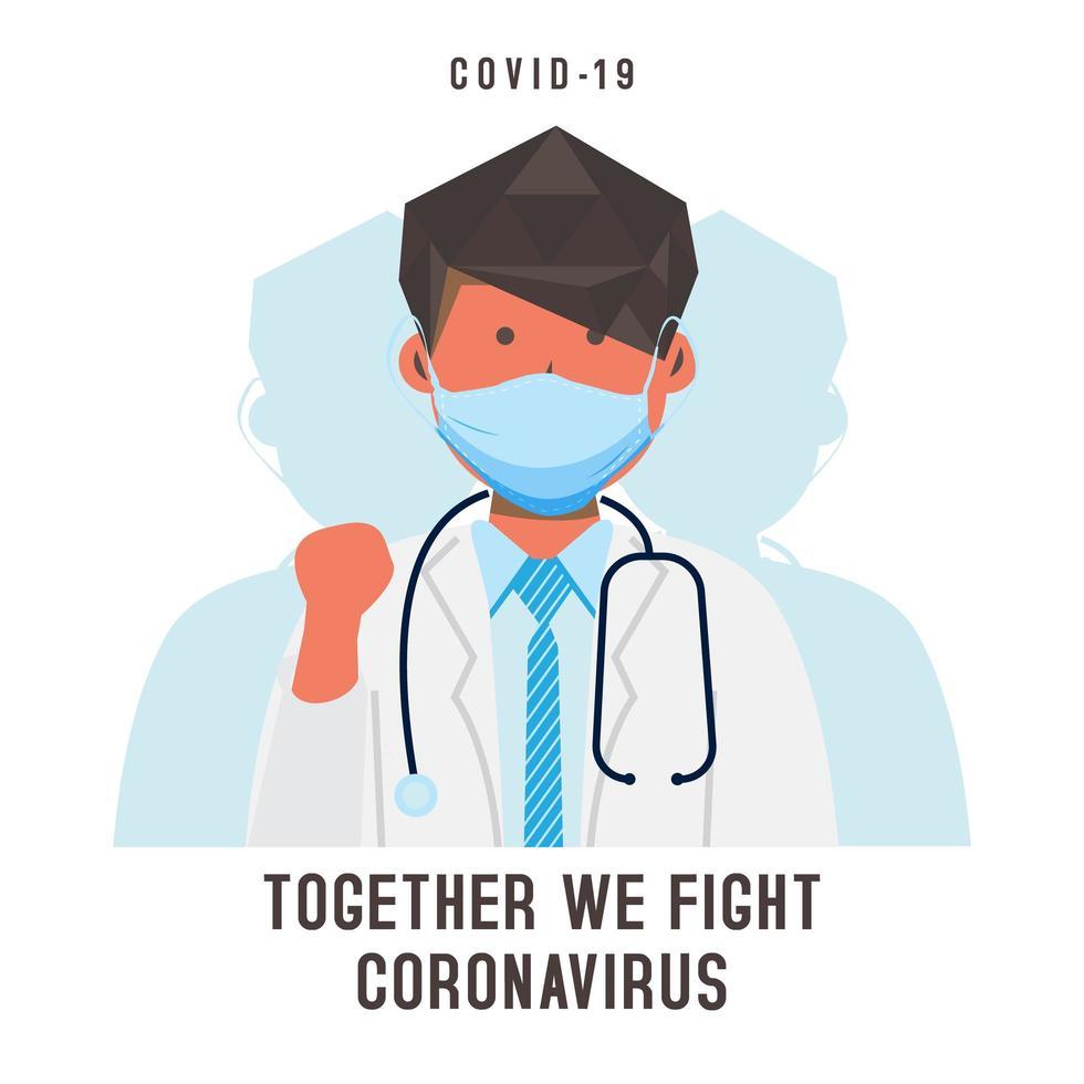 Karte mit maskiertem männlichen Arzt gegen Coronavirus vektor
