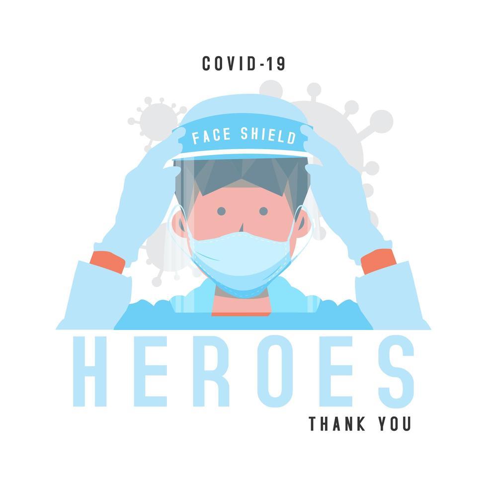 medizinischer Held des Coronavirus, der Gesichtsschutz trägt vektor