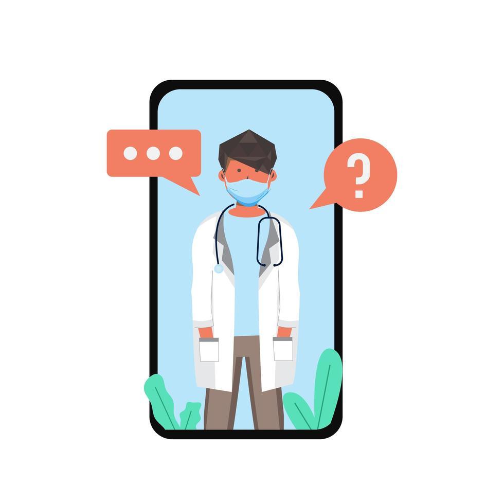 maskierter Arzt bei mobiler Videokonsultation vektor