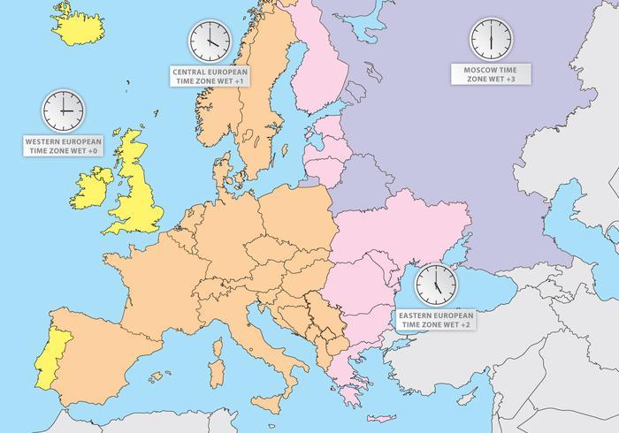 Zeitzonen Europas Europa Karte Vektor