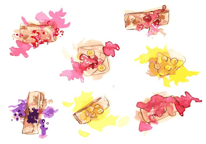 Handmålade Crepes Vector Set