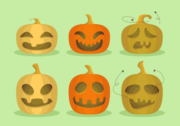 Pumpor Halloween Tecknad Rolig Vektor Illustration
