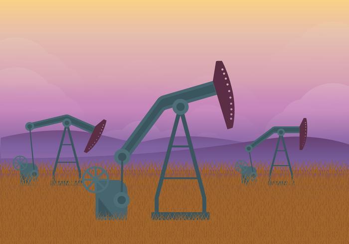 Oljefält gryning illustration vektor
