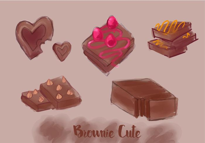 Akvarell Brownie Vector Set