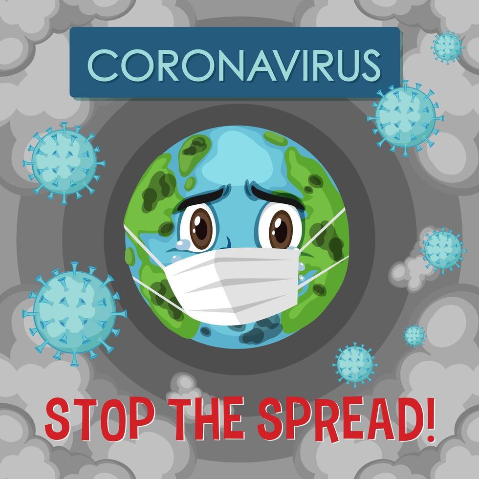 coronavirus stoppa affischen för spridning av världen vektor