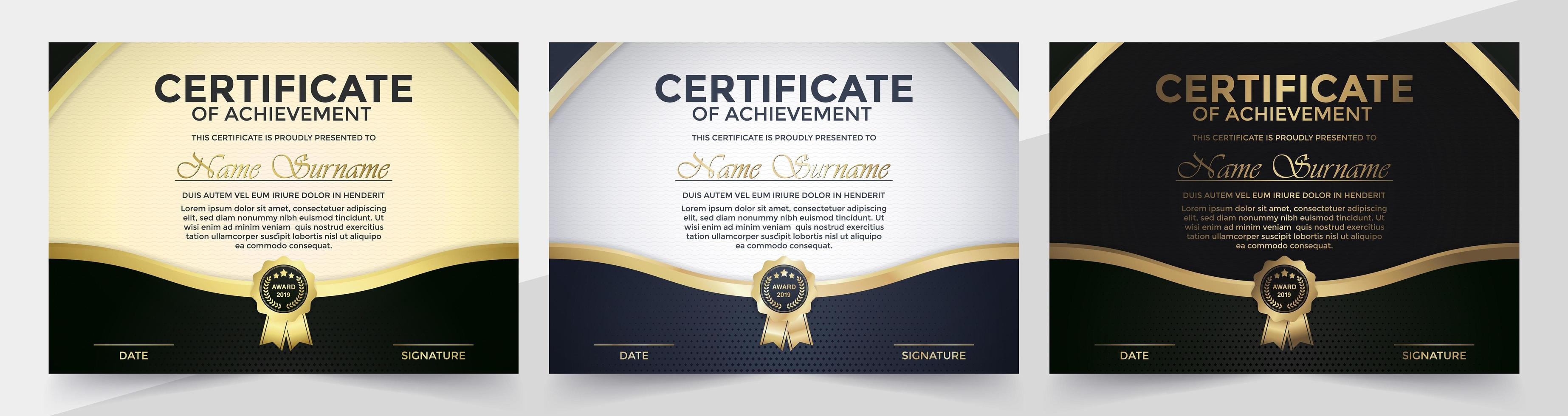 schwarz-goldenes Zertifikatset vektor