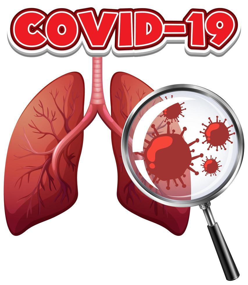 Coronavirus-Zellen in der menschlichen Lunge vektor