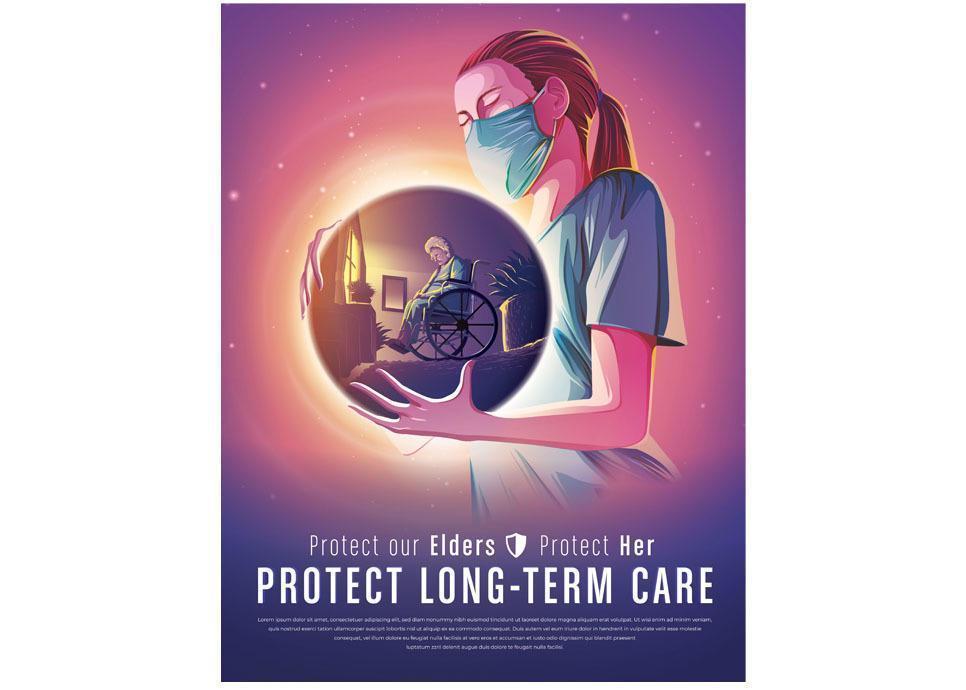 Krankenschwester beim Schutz der Langzeitpflege vektor
