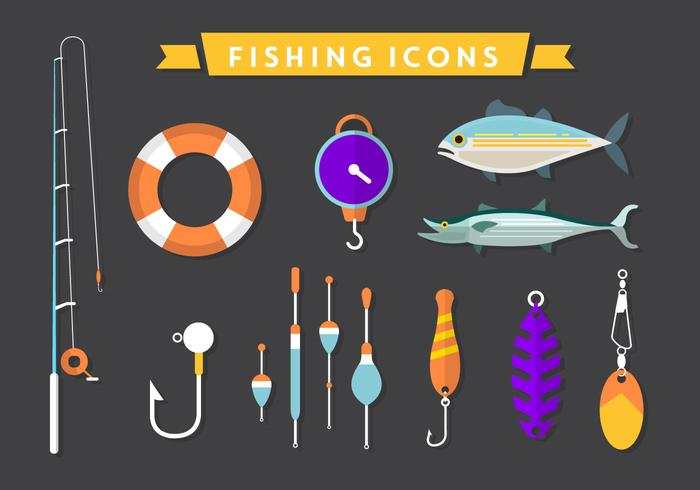 Flat Fishing Vector Icons