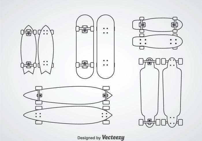 Skateboard outline ikoner vektor