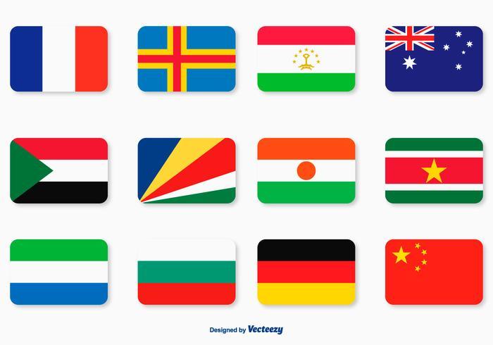 Platt flagg ikonuppsättning vektor