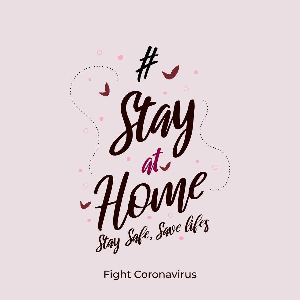 stanna hemma för att stoppa coronavirus ordkonst vektor
