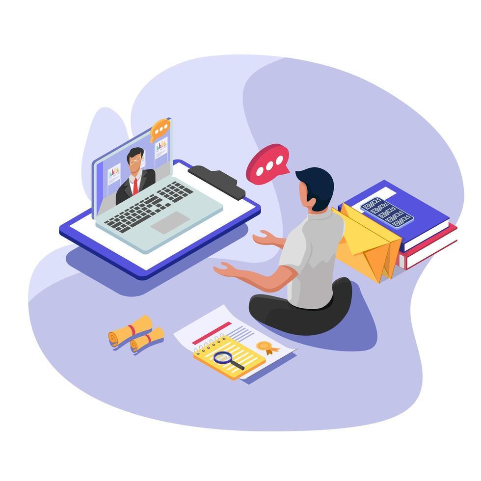 affärsarbetare som kommunicerar med chefen i datorn vektor