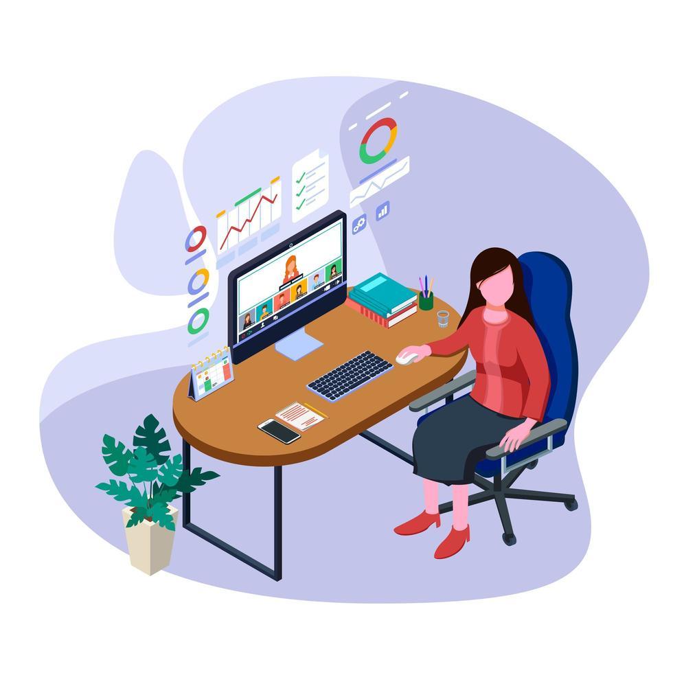 kvinna berättar affärsrapport med lagarbete i videokonferens. vektor