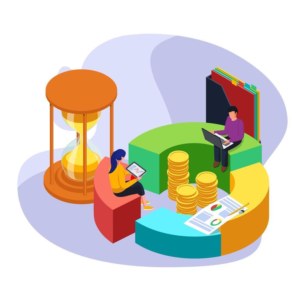 Geschäftsangestellter, der die Zeit für die Finanzanalyse verwaltet vektor