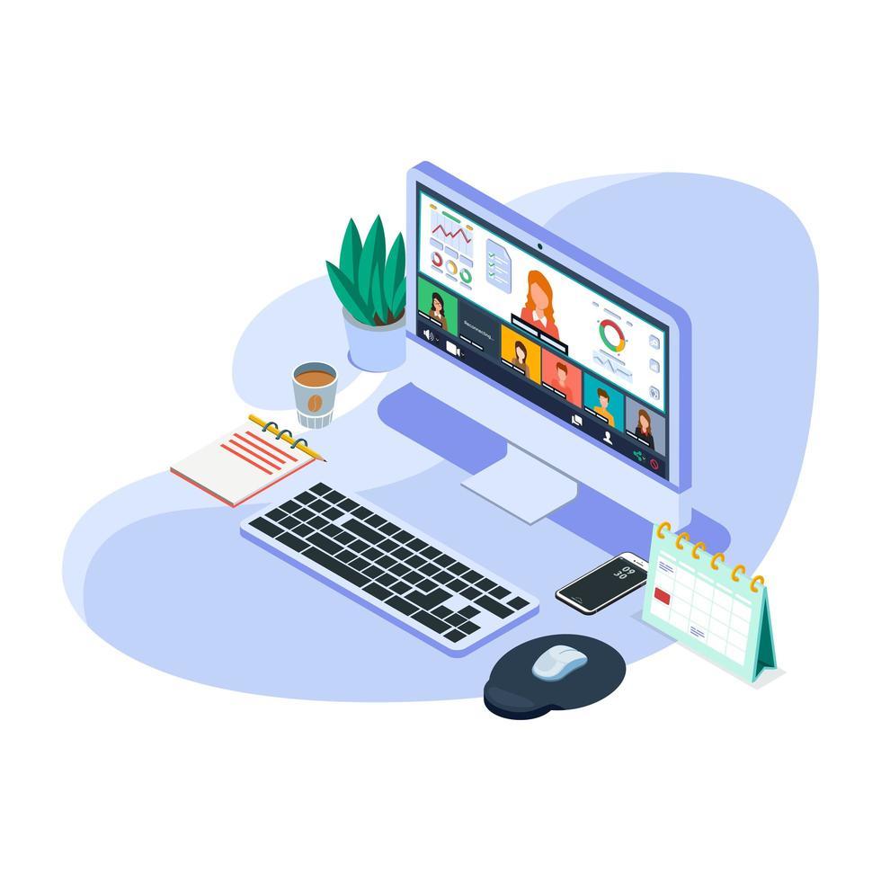 isometrisches Online-Videokonferenz-Kit vektor