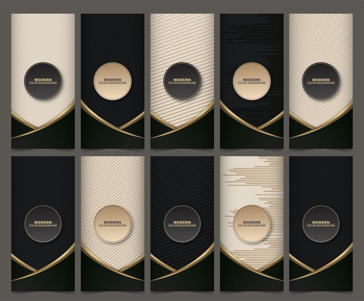 Sammlung von Verpackungsvorlagen mit schwarzgoldenen Etiketten und Rahmen vektor