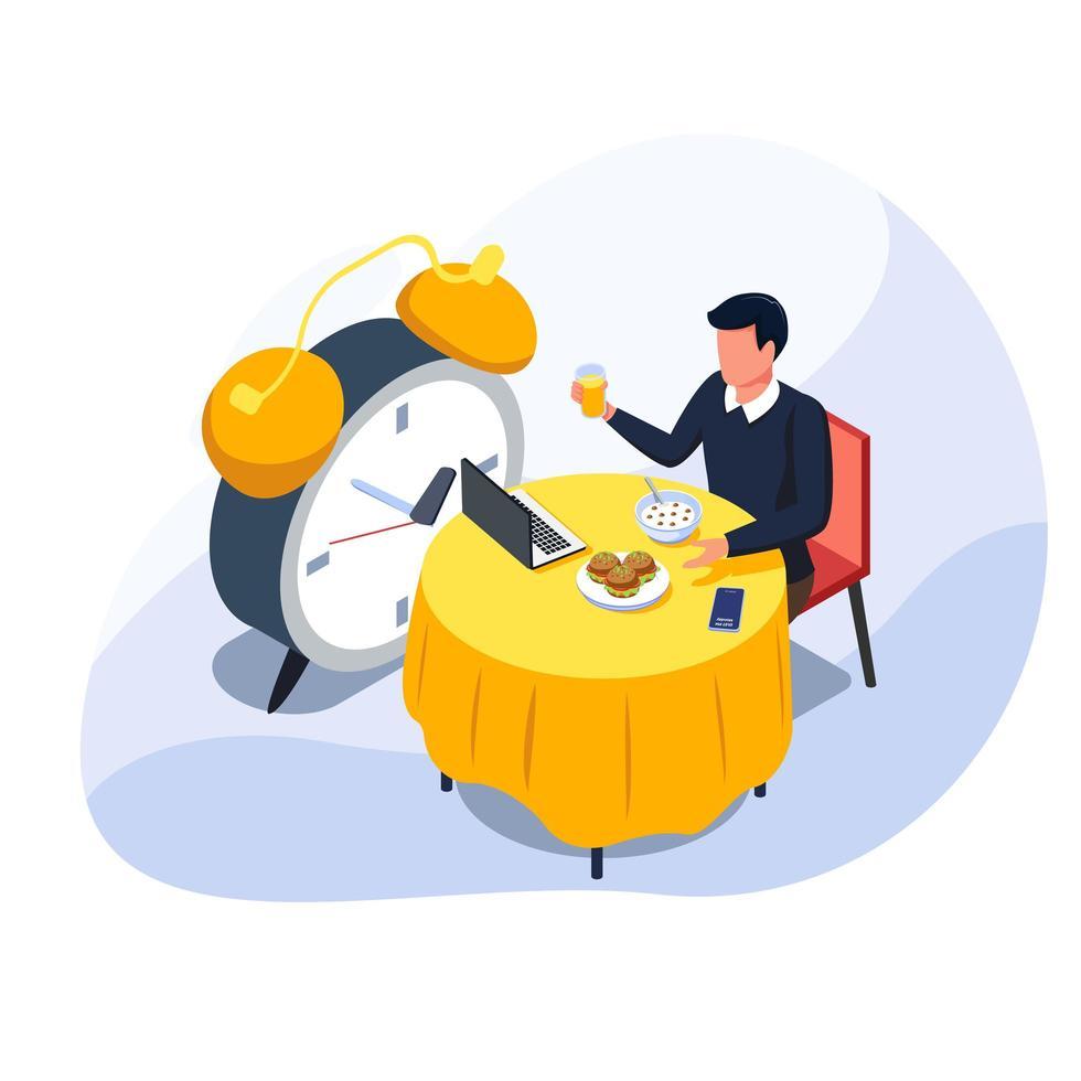 Geschäftsmann, der sein Mittagessen isst und Saft hält, während Fernarbeit im Laptop erledigt wird. vektor