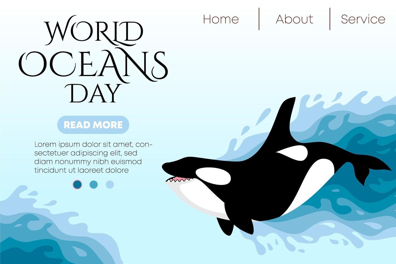 världen hav dag miljö webbmall vektor