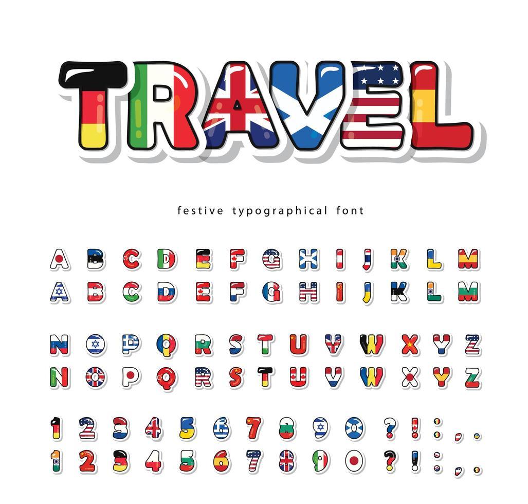Weltflaggen Cartoon Schriftart vektor