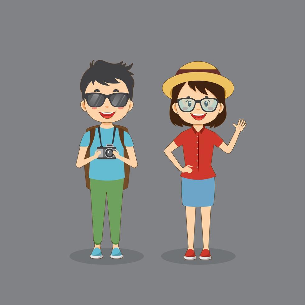 Paar Touristenreisende Charaktere vektor