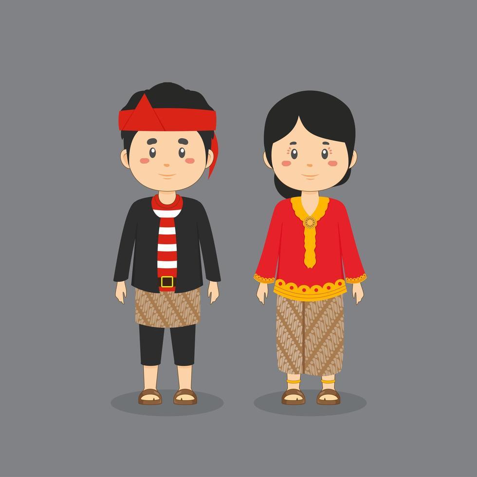 Paar Charakter trägt East Java traditionelle Kleidung vektor