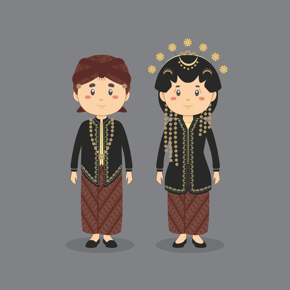 Paar Charakter trägt das traditionelle Hochzeitskleid von Central Java vektor