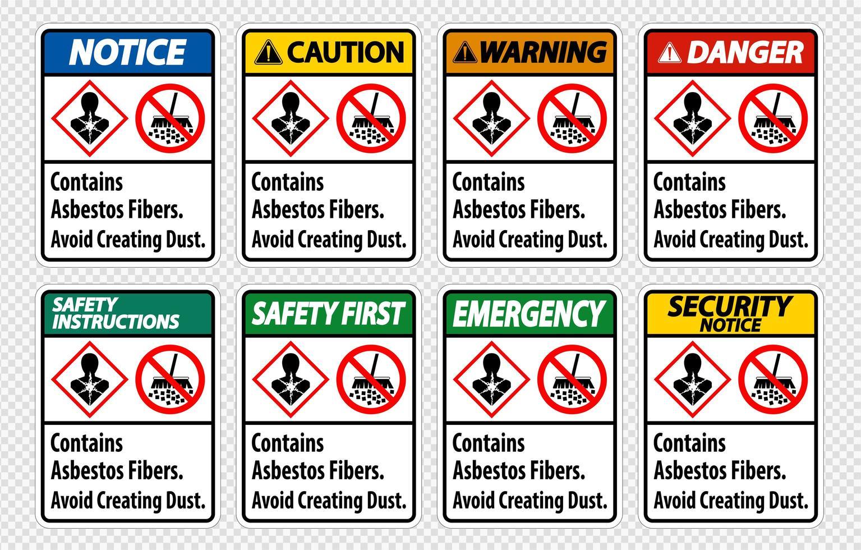 Etikett enthält Asbestfasern vektor