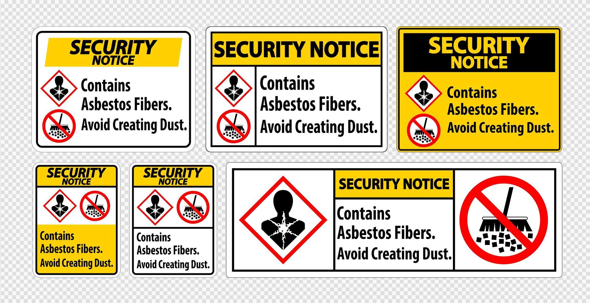 Sicherheitshinweise zur Vermeidung von Asbest vektor