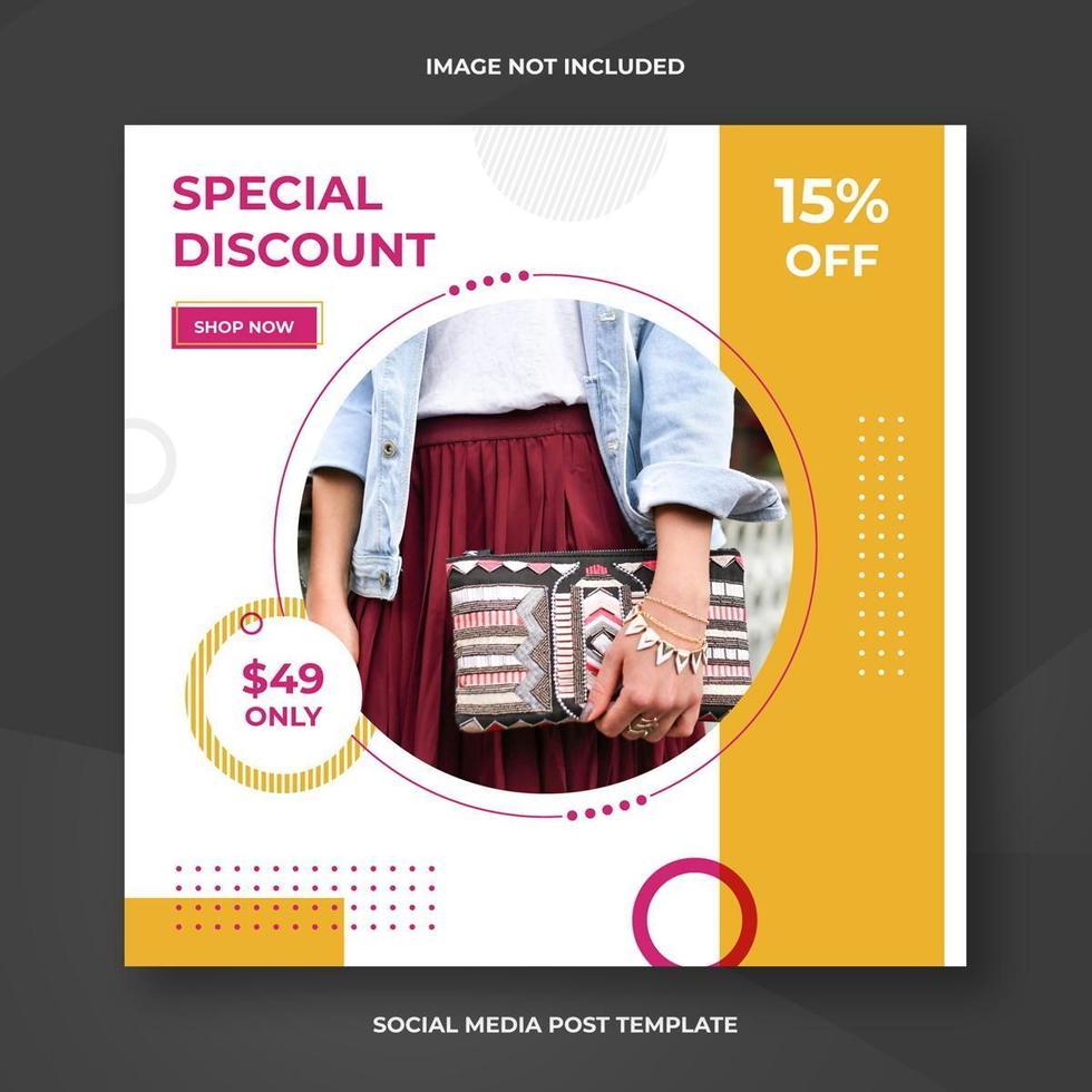 mode sociala medier fyrkantiga banner mall vektor