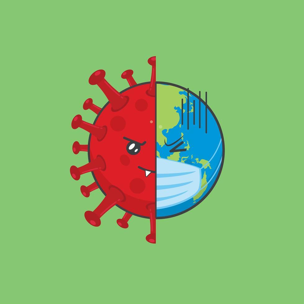 niedliche Erdcharaktere geteilt durch Viren vektor