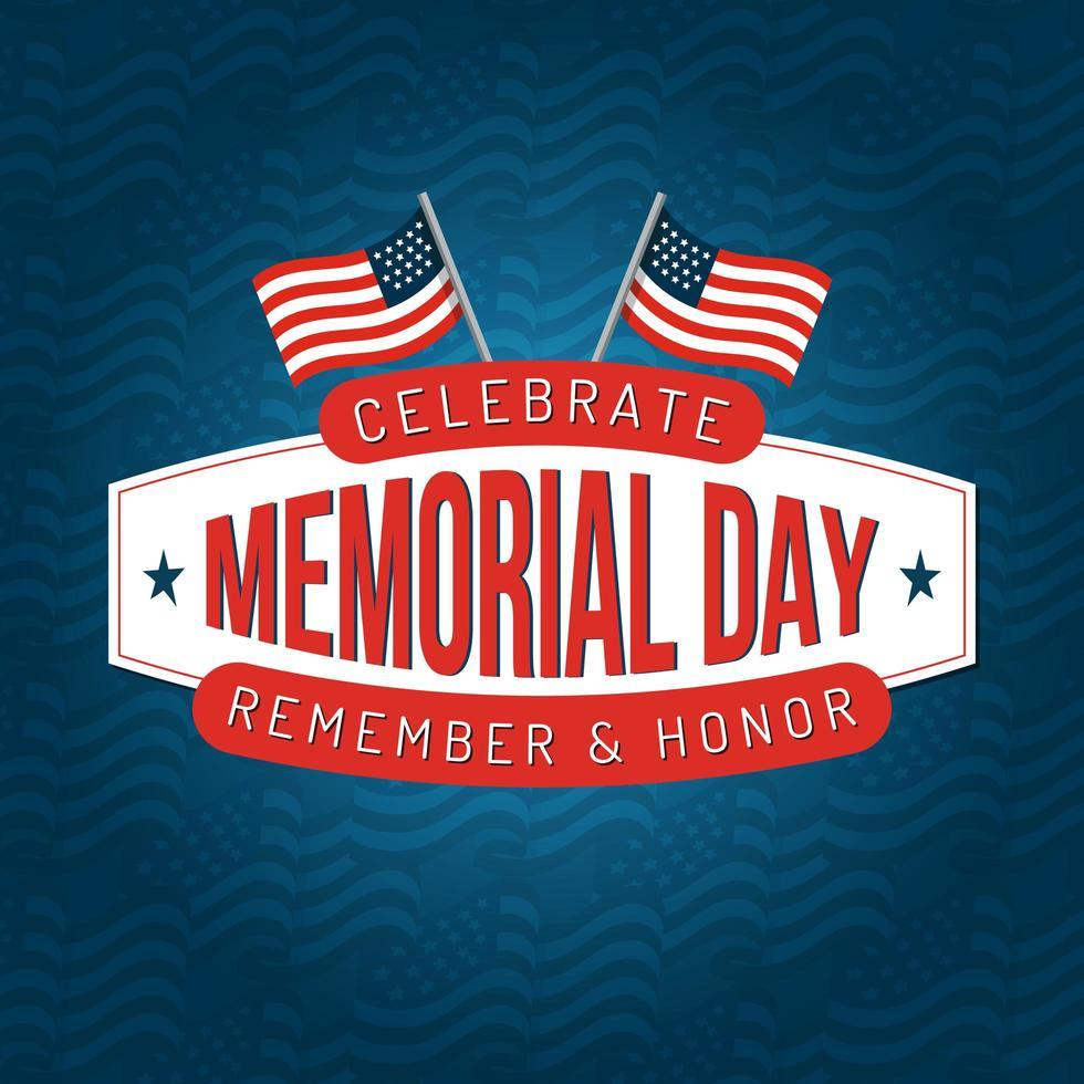 Memorial Day Square Poster Design mit amerikanischen Flaggen vektor