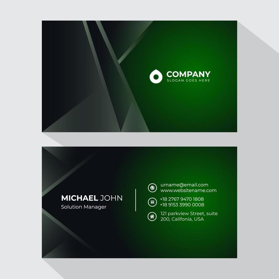 grüne, dunkelgraue Visitenkartenvorlage vektor