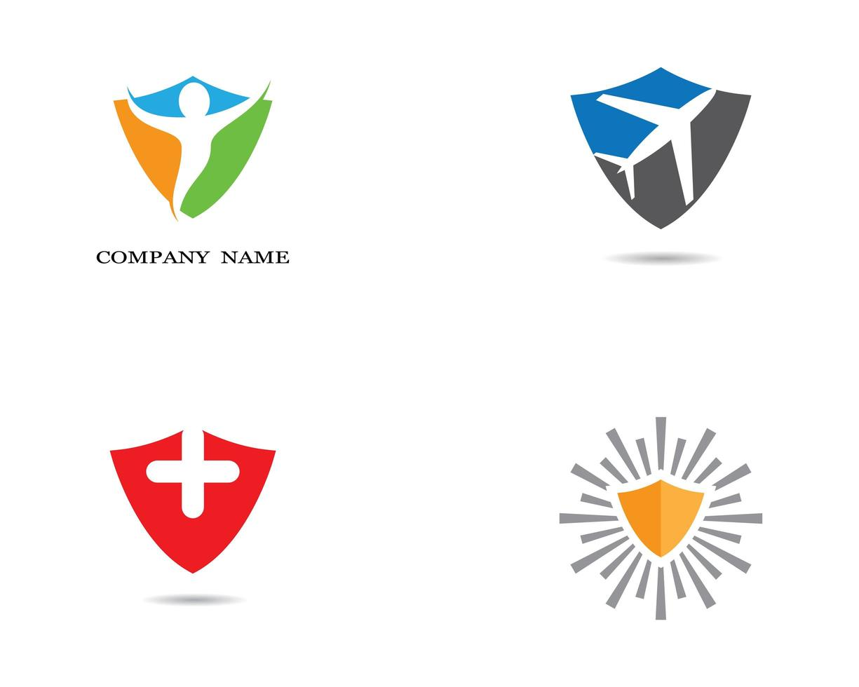 mehrfarbiges Schild-Logo-Set vektor