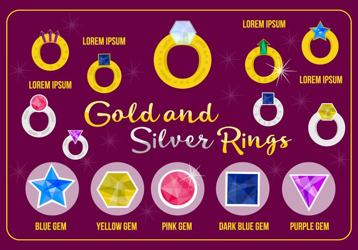 Free Gold und Silber Ringe Vektor