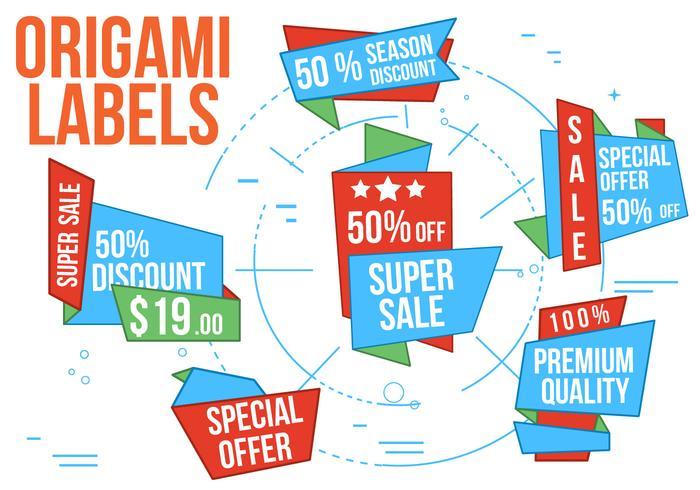 Gratis Super Sale Origami Vector Etiketter