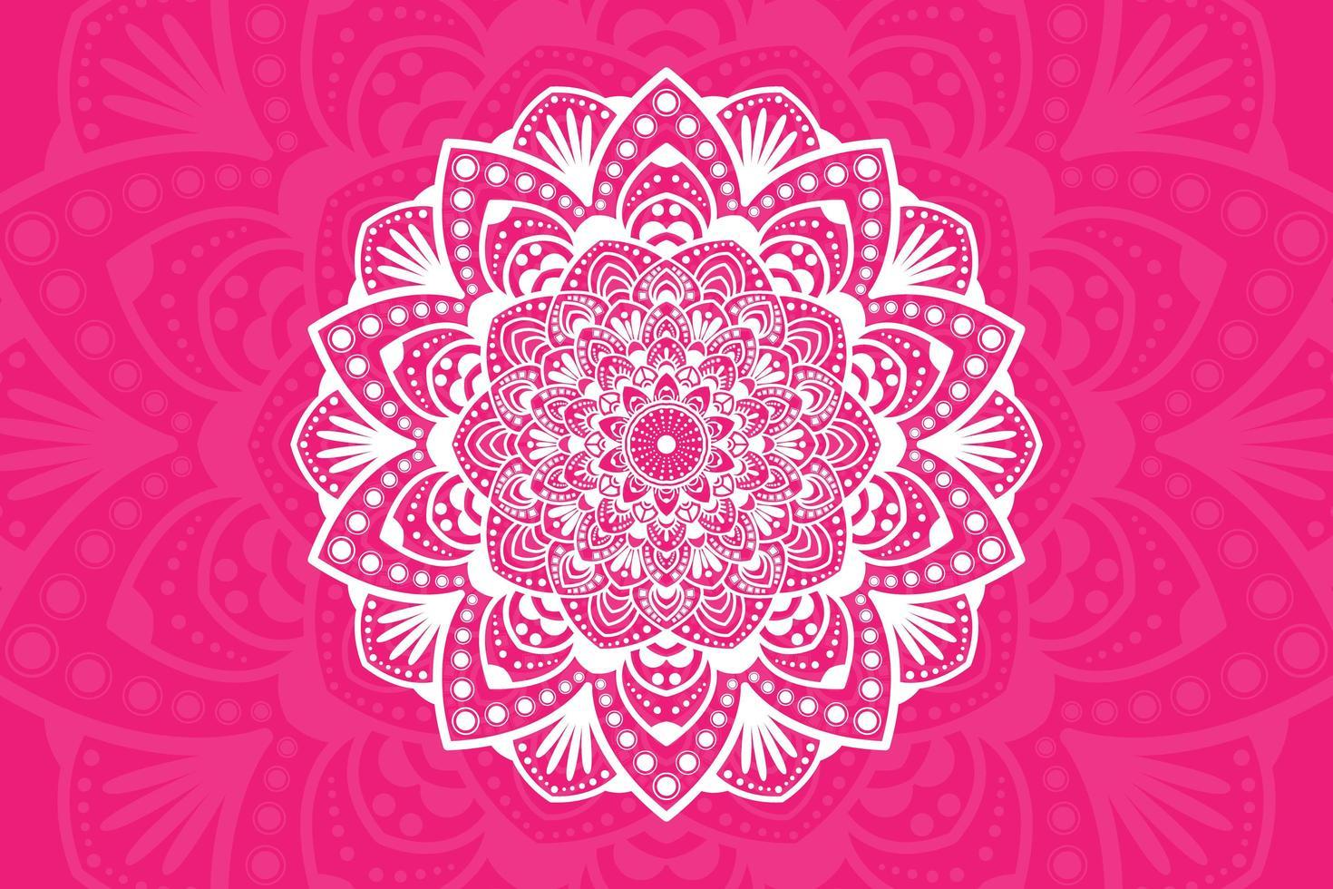 weißes Blumenmandala-Design auf Rosa vektor